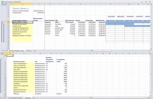 Пример обменного документа Excel для создания новых работ и пула ресурсов