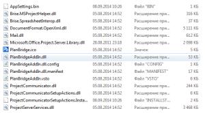 Перечень файлов PlanBridge